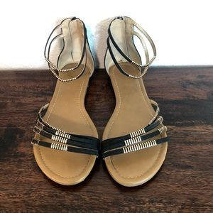 Beautiful Black and Gold Sandals